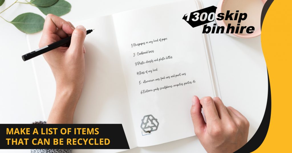 Make a list of items that can be recycled